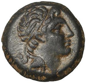 obverse: Kings of Bithynia. Prusias II Cynegos (182-149 BC). Bronze. AE 3.45 gr. – 16.4 mm. O:\ Head right, wearing winged diadem. R:\ BAΣIΛEΩΣ / ΠPOVΣIOV. Herakles standing left, holding club. SNG von Aulock 258; SNG Copenhagen 631; HGC 7, 634. Rare. aUNC