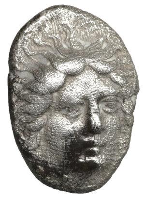 obverse: Caria. Rhodos. Rhodes. 408/7-390 BC. AR Hemidrachm. 13 mm - 1.75 gr. - 12h. O:\ Head of Helios, radiate, right. R:\ Full-blown rose to front. HGC 6, 1426. aXF