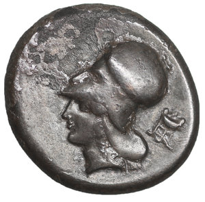 obverse: CORINTHIA, Corinth. Circa 400-375 BC. AR Stater. 19mm - 8.24 g, 9h. O:\ Pegasos flying right; E above hindquarters (just below wing). R:\ Helmeted head of Athena left; tripod to right. Ravel 691; Pegasi 173; BCD Corinth –; HGC 4, 1834. VF+, toned.