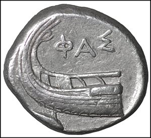 obverse: Lycia, Phaselis AR Stater. Circa 4th century BC. 10.30 gr. – 27 mm, 5h. O:\ Prow of galley to right, fighting platform decorated with seated griffin; waves below, dolphin to right. R:\ Stern of galley left; ΦA[Σ] above, dolphin to left below. Heipp-Tamer Series 6; unlisted variety; cf. CNG e395, lot 173; cf. Roma e47, 310. Rare. XF