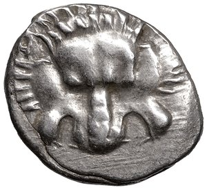 obverse: Dynasts of Lycia. Perikles 380-360 BC. 1/3 Stater. AR 17 mm - 3,02 gr. O:\ Facing lion s scalp. R:\ Triskeles, head of Hermes, dynast's name in Lycian around. SNG von Aulock 4256. XF+