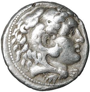 obverse: Macedon. Alexander III 'the Great'. 336-323 BC. Asia Minor, Uncertain southern mint. Circa 320-280 BC. AR Tetradrachm. (25mm, 17.12g). O:\ Head of Herakles right, wearing lion skin. R:\ Zeus Aëtophoros seated left; lagobolon in left field, K below throne. Price 3070. VF/XF