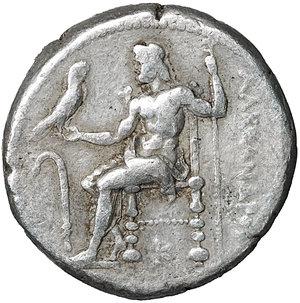 reverse: Macedon. Alexander III 'the Great'. 336-323 BC. Asia Minor, Uncertain southern mint. Circa 320-280 BC. AR Tetradrachm. (25mm, 17.12g). O:\ Head of Herakles right, wearing lion skin. R:\ Zeus Aëtophoros seated left; lagobolon in left field, K below throne. Price 3070. VF/XF