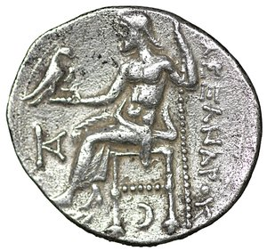 reverse: Kings of Macedon. Kolophon. Antigonos I Monophthalmos 320-301 BC. Drachm. AR 18 mm - 3,89 gr. In the name and types of Alexander III. Struck circa 310-301 BC. O:\ Head of Herakles to right, wearing lion skin headdress, paws tied beneath chin. R:\ ΑΛΕΞΑΝΔΡΟΥ, Zeus seated left on low-backed throne, right leg drawn back, his feet resting on a low foot rest, holding long scepter in his left hand and, in his right, eagle standing right with closed wings, KA monogram in left field, crescent left below throne. Price 1825. XF+