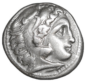 obverse: Kingdom of Macedon. Philip III Arrhidaios AR Drachm. 4.25 gr. – 18 mm, 11h. In the name and types of Alexander III the great. Kolophon, circa 323 -319 BC. Struck under Menander or Kleitos. O:\ Head of Herakles right, wearing lion skin headdress. R:\ Zeus Aëtophoros seated left, AΛEΞANΔPOY to right, ΠA monogram in left field, A below throne. Price P47. UNC