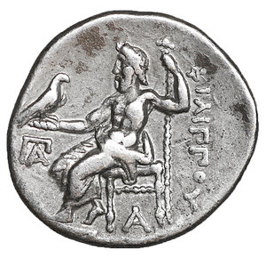 reverse: Kingdom of Macedon. Philip III Arrhidaios AR Drachm. 4.25 gr. – 18 mm, 11h. In the name and types of Alexander III the great. Kolophon, circa 323 -319 BC. Struck under Menander or Kleitos. O:\ Head of Herakles right, wearing lion skin headdress. R:\ Zeus Aëtophoros seated left, AΛEΞANΔPOY to right, ΠA monogram in left field, A below throne. Price P47. UNC