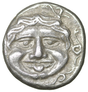 obverse: MYSIA. Parion. Hemidrachm (4th century BC). 2.41 gr. - 13 mm. O:\ ΠΑ / ΡΙ; Bull, with head right, standing left on ground line. R:\ Facing gorgoneion within incuse circle. SNG BN 1356-7. XF+