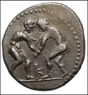obverse: PISIDIA, Selge. Circa 325-250 BC. AR Stater (21mm, 8.91 g, 12h). O:\ Two wrestlers grappling; K between. R:\ ΣΕΛΓΕΩΝ, Slinger standing right; to right, clockwise triskeles above club facing downward. SNG France 1941-3. VF+, lightly toned.