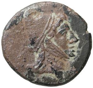 obverse: PONTOS, Amisos. Mithradates VI. 120-63 BC. Bronze. 12.40 gr. – 25 mm. Struck circa 85-65 BC. O:\ Helmeted head of Perseus right. R;\ AMI-ΣOΥ, Pegasos standing left; monograms below. SNG BM Black Sea 1215 var. (monogram); DeCallataÿ pl. 48, J var. (monogram). Scarce. Black Patina. XF