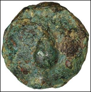 obverse: Apulia. Luceria. Uncia. 269-225 BC. Libral series. AE 45.68 gr. - 30.4 mm. O:\ Frog. R:\ Corn-ear; at l. pellet. HNItaly 674; TV 278. R2. Dark Green patina. XF. Heavy specimen