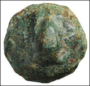 reverse: Apulia. Luceria. Uncia. 269-225 BC. Libral series. AE 45.68 gr. - 30.4 mm. O:\ Frog. R:\ Corn-ear; at l. pellet. HNItaly 674; TV 278. R2. Dark Green patina. XF. Heavy specimen