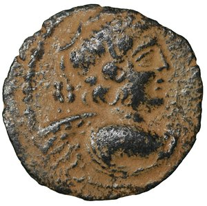 obverse: SELEUKID KINGS OF SYRIA. Antiochos IX Eusebes Philopator (Kyzikenos), 114/3-95 BC. Bronze. 4.20 gr. – 17.4 mm. Uncertain mint, probably in Phoenicia, circa 112-101. O:\ Winged bust of Eros to right. R:\ BAΣIΛEΩΣ / ANTIOXOY - ΦIΛOΠAΤOPOΣ Nike advancing left, holding wreath in her right hand and palm with her left; to left, date (here off flan). SC 2388. aXF