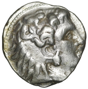 obverse: Seleukid Kingdom. Babylonia. Seleukos I Nikator 312-281 BC. In the name and types of Alexander III of Macedon. Struck circa 311-305 BC. Tetradrachm. AR 25 mm - 17,15 gr. O:\ Head of Herakles to right, wearing lion skin headdress, paws tied beneath chin. R:\ ΒΑΣΙΛΕΩΣ ΑΛΕΞΑΝΔΡΟΥ, Zeus seated left on high-backed throne, his feet resting on a low foot rest, holding long scepter in his left hand and, in his right, eagle standing right with closed wings, anchor and EP in left field, monogram below throne. SC 67.3b; Price 3440; HGC 9, 10d. XF