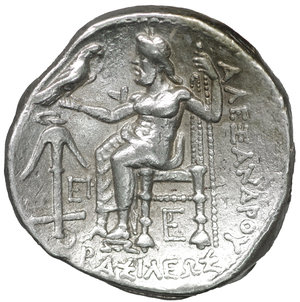 reverse: Seleukid Kingdom. Babylonia. Seleukos I Nikator 312-281 BC. In the name and types of Alexander III of Macedon. Struck circa 311-305 BC. Tetradrachm. AR 25 mm - 17,15 gr. O:\ Head of Herakles to right, wearing lion skin headdress, paws tied beneath chin. R:\ ΒΑΣΙΛΕΩΣ ΑΛΕΞΑΝΔΡΟΥ, Zeus seated left on high-backed throne, his feet resting on a low foot rest, holding long scepter in his left hand and, in his right, eagle standing right with closed wings, anchor and EP in left field, monogram below throne. SC 67.3b; Price 3440; HGC 9, 10d. XF