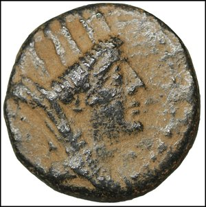 obverse: Syria, Seleukis and Pieria. Apameia. 1st century B.C. Bronze. 5.85 gr. – 17.3 mm. Date SE 267 (49/8 B.C.). O:\ Turreted and veiled head of Tyche right. R:\ AΠAMEΩN THΣ IEPAΣ KAI AYTONOMOY, Nike advancing left, holding wreath and palm branch. HGC 9, 1429. Desert patina. aXF