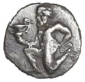 obverse: Thrace. Thasos. AR Trihemiobol, c. 412-404 BC. 12 mm - 0,73 gr. O:\ Satyr kneeling left, carrying kantharos. R:\ ΘAΣIΩN, Amphora. Le Rider, Thasos 27; SNG Cop. 1029. XF