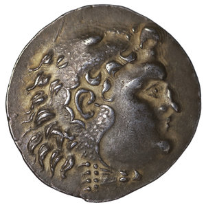 obverse: THRACIA. Mesembria. Tetradrachm. ca. 175-125 BC. 16.50 gr. - 31.72 mm. O:\ Head of youthful Herakles to right, wearing lion skin headdress. R:\ BAΣIΛEΩΣ ΑΛΕΞΑΝΔΡΟΥ Zeus seated left on ornamental throne, holding long, vertical scepter in his left hand and eagle standing right in his right; to left. ΛA and torch in the field. Price 1054. Attractive toned. XF\UNC