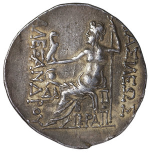 reverse: THRACIA. Mesembria. Tetradrachm. ca. 175-125 BC. 16.50 gr. - 31.72 mm. O:\ Head of youthful Herakles to right, wearing lion skin headdress. R:\ BAΣIΛEΩΣ ΑΛΕΞΑΝΔΡΟΥ Zeus seated left on ornamental throne, holding long, vertical scepter in his left hand and eagle standing right in his right; to left. ΛA and torch in the field. Price 1054. Attractive toned. XF\UNC