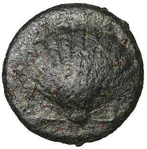 obverse: CALABRIA, Tarentum. 275-200 BC. Bronze. Æ 2.75 gr. – 14.4 mm. O:\ Cockle shell. R:\ Phalanthos on dolphin left, holding kantharos and cornucopia. Vlasto 1824; HN Italy 1087. Scarce. VF\XF