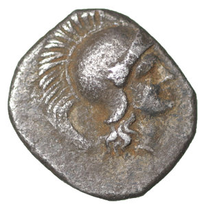 obverse: Calabria, Tarentum. 325-280 AD. Diobol. 325-280. AR 10.5mm., 0.99g. O:\ Head of Athena r., wearing Attic helmet. R:\ Herakles standing l., fighting against lion, in r. field, bunch of grapes. Vlasto 1405. aXF