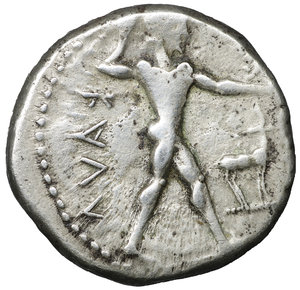 obverse: BRUTTIUM, Kaulonia. 480-380 BC. Nomos. 21,6 mm, 8.00 gr,. Apollo advancing right, holding branch; to right, stag standing right; ΚΑΥΛ. R:\ Stag standing right. KA. Noe,C. 38.99 (R: same). HN Italy 2046. SNG Cop. 1709. Winterthur 484. Rare. VF \XF