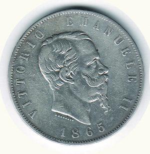 obverse: Vittorio Emanuele II - 5 Lire 1865 TO. Vittorio Emanuele II - 5 Lire 1865 TO R - BB/q.SPL