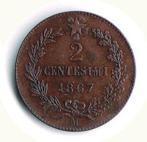 reverse: REGNO D ITALIA - VITTORIO EMANUELE II (1861-1878) - 2 Centesimi 1867 M - Pagani REGNO D ITALIA Vittorio Emanuele II 2 centesimi Ae - SPL+