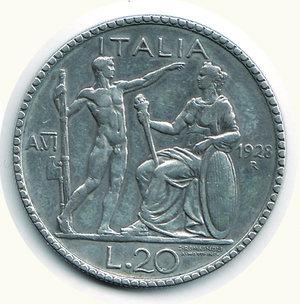 reverse: REGNO D ITALIA - Vittorio Emanuele III (1900-1943) - 20 Lire 1928 A.VI -