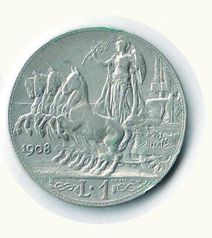 reverse: Vittorio Emanuele III - Lira 1908. Vittorio Emanuele III - Lira 1908 BB