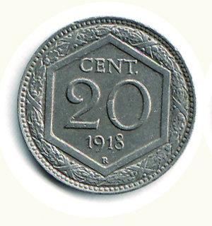 obverse: REGNO D ITALIA - VITTORIO EMANUELE III (1900-1943) - 20 Centesimi 1918