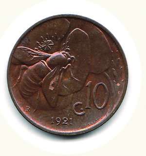reverse: Vittorio Emanuele III - 10 Cent. 1921 Ape - Rame rosso eccezionale. Vittorio Emanuele III - 10 Cent. 1921 Ape FDC