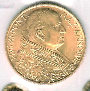 obverse: CITTÀ DEL VATICANO - Pio XI (1922-1939) - 100 Lire 1933-34 Anno IV. CITTÀ DEL VATICANO - Pio XI (1922-1939) - 100 Lire 1933-34 FDC