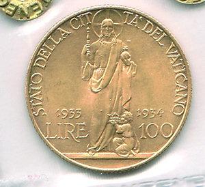 reverse: CITTÀ DEL VATICANO - Pio XI (1922-1939) - 100 Lire 1933-34 Anno IV. CITTÀ DEL VATICANO - Pio XI (1922-1939) - 100 Lire 1933-34 FDC