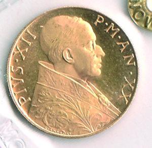 obverse: CITTÀ DEL VATICANO - Pio XII (1939-1958) - 100 Lire 1958 Anno XX - Eccezionale. CITTÀ DEL VATICANO - Pio XII (1939-1958) - 100 Lire 1958 FDC