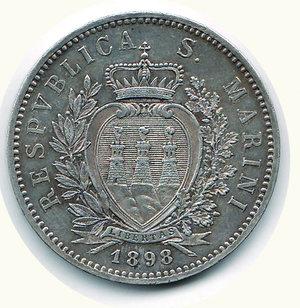 reverse: SAN MARINO - 5 Lire 1898 - Pagani 357. SAN MARINO - 5 Lire 1898 - Pagani 357. R - AR - q.SPL
