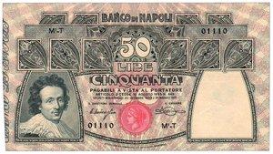 obverse: Banco di Napoli - 50 Lire 30/12/1909 Miraglia/Mancini. Banco di Napoli - 50 Lire 30/12/1909 q.FDS