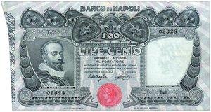 obverse: Banco di Napoli - 100 Lire Miraglia/Mancini 10/11/1908. Banco di Napoli - 100 Lire Miraglia/Mancini 10/11/1908 SPL