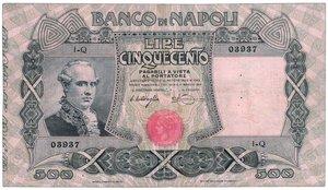 obverse: Banco di Napoli - 500 Lire - (piega stirata) - Miraglia/Mancini 07/12/1909. Banco di Napoli - 500 Lire - Miraglia/Mancini 07/12/1909 RRR - q.SPL