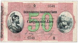 obverse: Credito Agricolo industriale Sardo - Lire 50 - Crapanzano IS 3. Credito Agricolo industriale Sardo - Lire 50 R - BB+