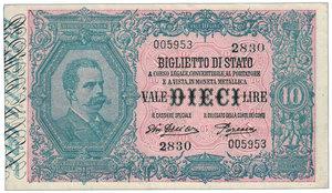 obverse: Regno d Italia - 10 Lire effige Umberto I Dall Ara Porena - Sigillato PMG come 45. Gigante BS/17E. Regno d Italia - 10 Lire effige Umberto I FDS