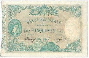 obverse: Regno d Italia - 50 Lire 19/01/1881 - Forellini - Piega stirata. Regno d Italia - 50 Lire 19/01/1881 q.SPL