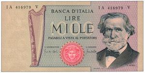 obverse: Repubblica - 1.000 Lire Verdi - Carta ocra 25/03/1969. Repubblica - 1.000 Lire Verdi FDS