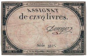 obverse: Francia - Assignat 5 Fr. Serie n.3347. Francia - Assignat 5 Fr. BB