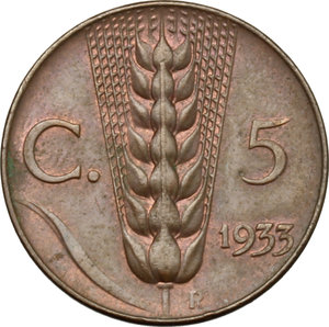 reverse: Vittorio Emanuele III (1900-1943). 5 centesimi 1933