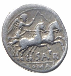 reverse: Repubblica Romana. Gens Atilia. C. Atilius Saranus. 155 a.C. Denario. D/ Testa di Roma verso destra, dietro X. R/ SAR ROMA (Saranus Roma). I Dioscuri a cavallo verso destra. Cr. 199/1a. Peso 3,83 gr. Diametro 19,00 mm. BB+. NC.