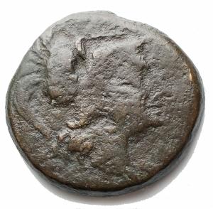 obverse: Mondo Greco - Apulia.Teate. Quadrunx AE. ca. 225-200 a.C. d/ Testa elmata di Athena a destra r/ Civetta stante a destra, con la testa rivolta a tre quarti, nel campo a ds K, a sinistra TIATI, in ex quattro (sic) globetti. D Andrea 26. Marchetti p. 480 n. 2. Cfr. HN Italia 702 a (Quincunx: Quadrunx mancante in questa serie). g 12,3. mm 26,3. qBB. Patina verde scuro. RR. Molto raro. Esemplare di tipologia molto interessante, non elencato in HN Italia come Quadrunx.