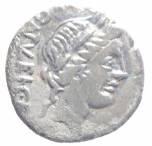 obverse: Repubblica Romana. Gens Egnatuleia. C. Egnatuleius C.f. ca 97 a.C. Quinario. AG: D/ C·EGNATVLEI·C·F·Q Testa laureata di Apollo a destra. R/ Vittoria a sinistra; inscrive uno scudo posto su un trofeo, nel campo a sinistra carnyx. Nel campo al centro, Q. In esergo ROMA. B. Egnatuleia 1. Syd. 588. Cr. 333/1. Peso gr. 1.6. Diametro mm. 16,00. BB.
