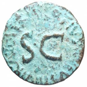 obverse: Impero Romano. Augusto. 27 a.C. - 14 d.C. Asse. D/ AVGVSTVS TRIBVNIC POTEST Testa di Augusto verso destra. R/ Q CRISPINVS SVLPICIANVS III VIR A A A F F. RIC.335. Peso 7,29 gr. Diametro 26 mm. BB. Patina. R.>>