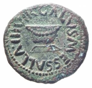 obverse: Impero Romano. Augusto. 27 a.C-14 d.C. Quadrante, ca. 5 a.C. AE. Apronius, Galus, Messalla e Sisenna come Tresviri. D/ GALVS SISENNA IIIVIR. Altare. R/ MESSALLA APRONIVS A A A F F. Al centro, SC. RIC 452. C. 373. Peso gr. 3,05. Diametro mm. 16.00.SPL.Ex Tintinna 80 lotto 213 aggiudicato ma non pagato