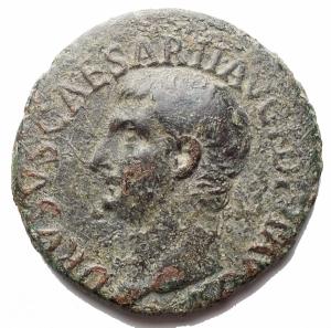 obverse: Impero Romano -Druso, figlio di Tiberio (deceduto nel 23 d.C.).Asse.D/ DRVSVS CAESAR TI AVG F DIVI AVG N. Testa nuda a sinistra.R/ PONTIF TRIBVN POTEST ITER intorno a grande SC.RIC (Tib.) 45.AE.g 10,7.mm 27,9.Buon BB.Patina verde.